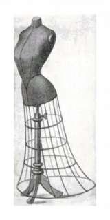 Vintage Black and Grey Dress Form Handmade Cross Stitch Pattern
