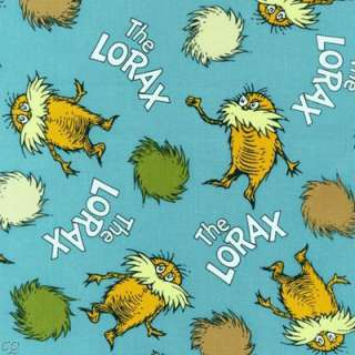 FQ Dr. Seuss The Lorax Character Words Earth Teal Organic Cotton Fat