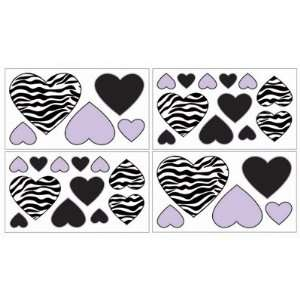 Purple Funky Zebra Baby, Kids and Teens Wall Decal Stickers   Set of 4