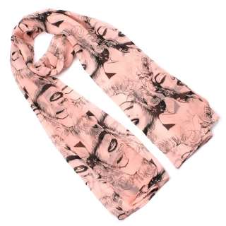 New Women Fashion Pink Marilyn Monroe Long Soft Wrap Shawl Scarf