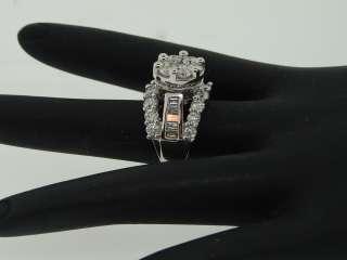 14K WHITE GOLD 4 CT ROUND FLOWER SET DIAMOND ENGAGEMENT RING BRIDAL