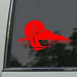 Sail Boat Boys Kids Nautical Red Decal Window Red Sticker
