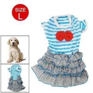 Blue White Stripes Layered Hem Pet Dog Summer Dress