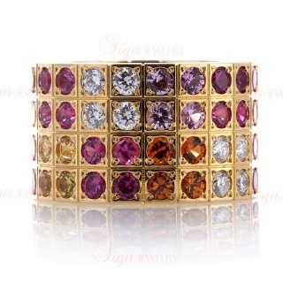 CARTIER 18k Yellow Gold Multicolor Sapphire & Diamond Ring