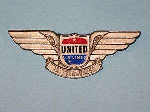 Vintage United Airlines Jr. Stewardess Wings Pin
