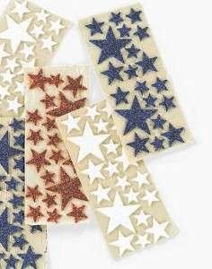 60 Star Glitter Foam Sticker Red White, Blue July 4th
