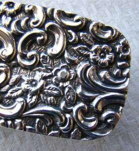 ANTIQUE DRESSER/vanity JAR/BOX/POT~SOLID STERLING SILVER&GLASS/crystal