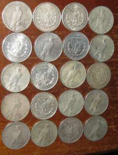 Roll 20 Morgan Peace Silver Dollar Coin Collection Scarce $$$