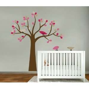 Kids tree vinyl wall decal with 4 penelope birds Cute for