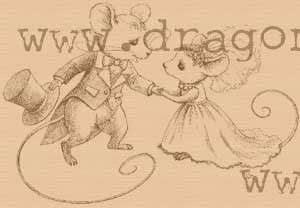 Wedding mice rubber stamp WM 3.5x2.5