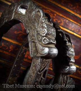 Wonderful Amazing Pair Old Antique Tibetan Noble Carved Iron Stirrup