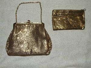Vintage Whiting & Davis Gold Mesh Evening Bag w/Matching Change Purse