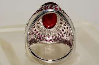 500 10.01CT OVAL,ROUND CUT RUBY & WHITE TOPAZ RING SIZE 7