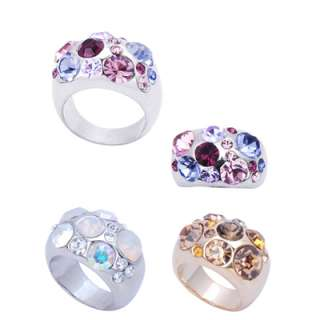 Rhodium Plated Crystals Cocktail Ring Size 6 7 8 9 10