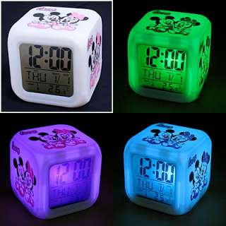 Color Lovey LED Digital Mickey Mouse Alarm Clock New