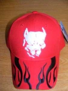PIT BULL PITBULL DOG BLK FLAMES EMBROIDERY HAT CAP RED