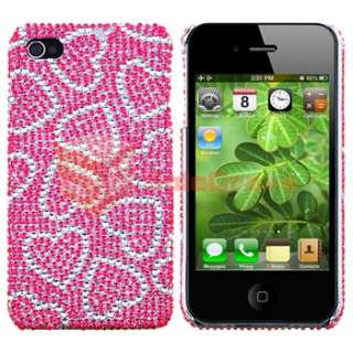 Pink w/ White Heart Bling Case+PRIVACY FILM for Sprint Verizon AT&T