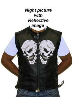 Mens Motorcycle Biker Genuine Leather Night Reflective Skull bones