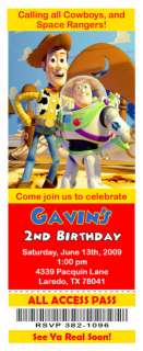 Set of 10 Toy Story Personalized Ticket Invitations