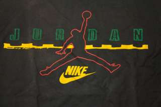 VINTAGE Nike Air Jordan JUMPMAN Logo Shirt BLACK RED GREEN YELLOW Sz