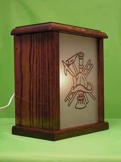 Rescue Design Etched Glass Panel in Oak Wood Electric Night Light Box
