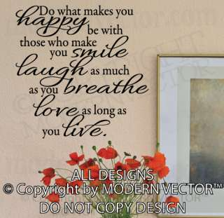 HAPPY, SMILE, LAUGH, LIVE, LOVE, BREATHE Quote Vinyl Wall Decal