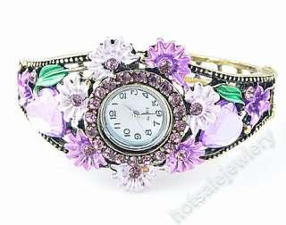 Wholesale 6Pcs Flower rhinestone Crystal Cuff Bracelet Watch A14