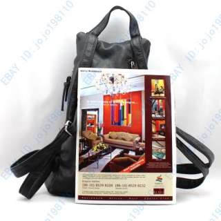 Classic Black Faux Leather Backpack Bag Handbag Purse A29