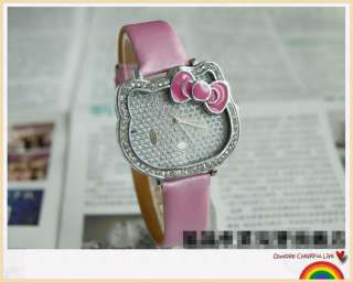 Fashion HelloKitty Girl Lady Child Crystal Quartz Watch Wristwatch A17