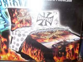 WEST COAST CHOPPERS TWIN SHEETS SET~NEW~FLAMING HOT