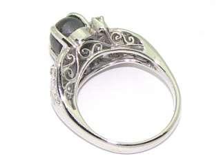 Estate 14kt White Gold 2ct Gray Star Sapphire Diamond Band Ring