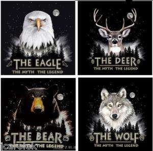 DEER BEAR EAGLE WOLF T shirt S M L XL XXL NWT 4 DESIGNS