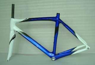 Blue White Full Carbon Road Bike Frame Fork 54cm, 56cm