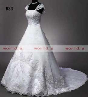 2011 Hot White A Line 395 Satin Cap Sleeve Applique Wedding Dress