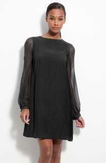 Sz. 14 Julie Dillon Pleated Chiffon Shift Dress Black