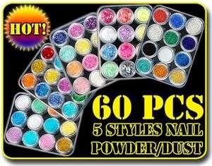 60 Colour Nail Art Glitter Acrylic Powder Dust Sheet