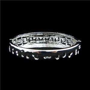 Bridal Camber Arched Bracelet Clear Swarovski Crystal Square Bangle