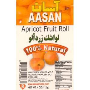 AASAN Apricot Fruit Roll (Lavashak Zardalu) 4 oz   Pack of 6: