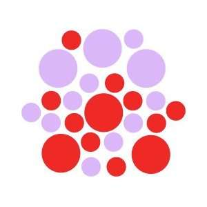 90   Red / Lilac Circles Polka Dots Vinyl Wall Graphic Decals Stickers