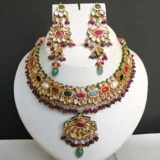 JODHA AKBAR REAL INDIAN HANDCRAFTED NAVRATAN KUNDAN MEENA NECKLACE