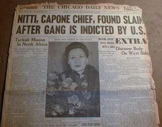 Chicago newspaper hdl FRANK NITTI DEAD Al Capone Gangster THE ENFORCER