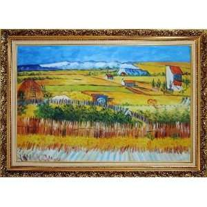 Oil Painting, with Ornate Antique Dark Gold Wood Frame 30 x 42 inches