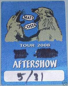 Matt Costa BACKSTAGE PASS sticker VIP badge 2008 RARE