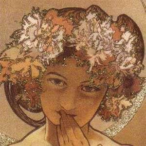 ALPHONSE MUCHA Art Nouveau Greeting Card MOON AND STARS