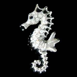 Crystal Sea Horse Marine ~~SEAHORSE pin Brooch~ BEACH WEDDING