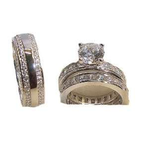 His & Hers Engagement Eternity Wedding Ring Set White Gold