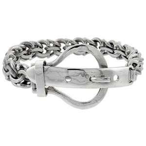 Sterling Silver Hand Made Garibaldi Link Belt Buckle Bracelet, 9/16 in