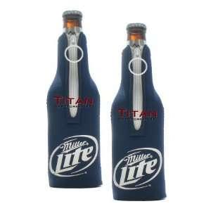 Miller Lite Bottle Suits   Blue  Neoprene Beer Koozies