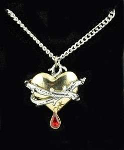 THORN HEART NECKLACE BLOOD TEAR DROP GOTH VAMP TATTOO