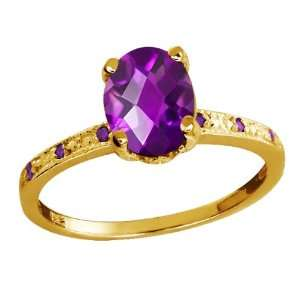 Checkerboard Purple Amethyst Yellow Gold Plated Argentium Silver Ring